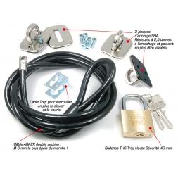kit complet systeme antivol avec 3 plaques ancrages cable trap pour verouiller souris et clavier cable noir anti vol epais caden