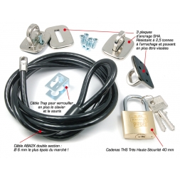 the complete kit 3 anchor plates padlocks high security cable