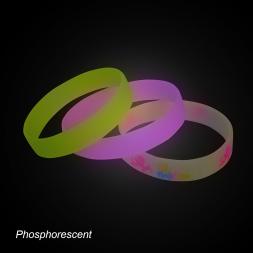 bracelets silicone lumineux dans le noir rose jaune personnalise