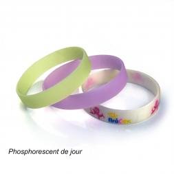 bracelets silicone lumineux vu de jour rose jaune personnalise