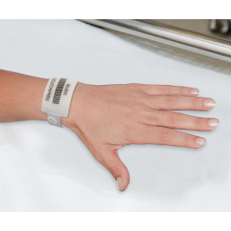 adult hospital wristband with large panel recording patient identification