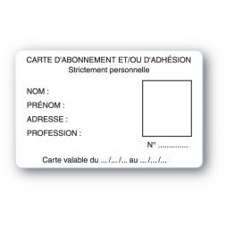 carte pvc personnalisee en carte abonnement strictement personelle