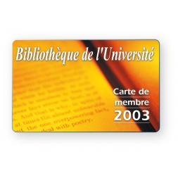 carte pvc personnalisee recto/verso format carte pour bibliotheque en jaune