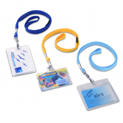 three solid colors blank polyester flat lanyard with personnalised badges