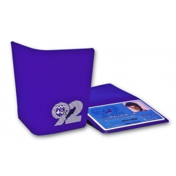 protege badge souple double personnalise violette