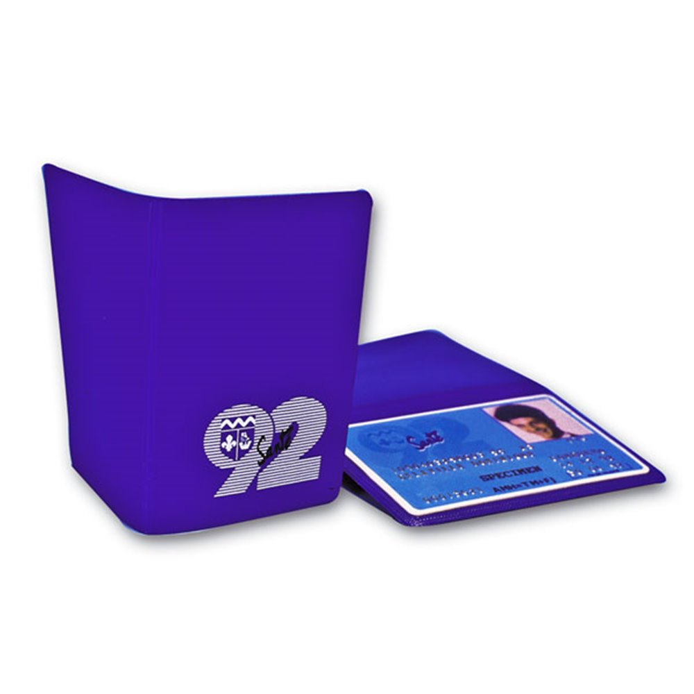 customized soft double badge protection case in purple color