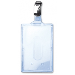 porte badge rigide en longueur transparent avec pince bretelle
