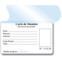 rabat adhesif pret a poser sur carte de membre vierge