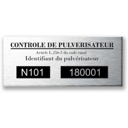 Plaque de contrôle pulvérisateur aluminium personnalisée