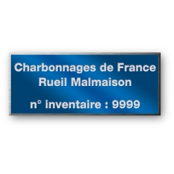 anodized laser engraving aluminium asset tag personnalised for charbonnage de france with refrence number en