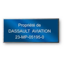 anodized laser engraving aluminium asset tag personnalised for dassault aviation en