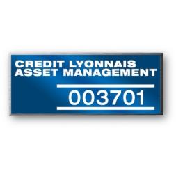 anodized laser engraving aluminium asset tag personnalised for credit lyonnais asset management en