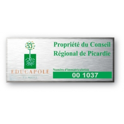 laser engraved aluminium asset tag for picardie with logo