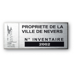 engraved aluminium asset tag for propriete de la ville de nevers