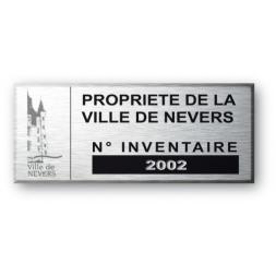 etiquette aluminium personnalisee propriete de la ville de nevers