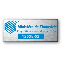 engraved aluminium asset tag for industry ministry