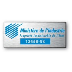 etiquette aluminium personnalisee pour le ministere de l industrie