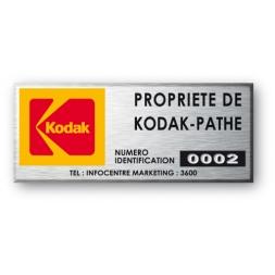 engraved aluminium asset tag kodak property with yellow logo en