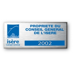 engraved aluminium asset tag for general council of isere with logo en
