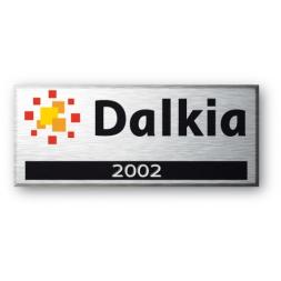 logo et marque dalkia sur etiquette alumunium