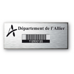 engraved aluminium asset tag with barecode for allier departmment en