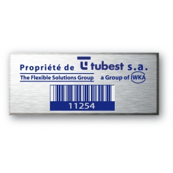 engraved alumunium asset tag for tubest with barecode