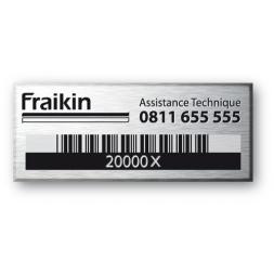 fraikin assistance technique gravee sur plaque alumunium avec code barre
