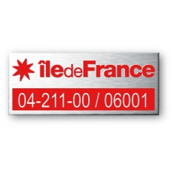 engraved aluminium asset tag personnalised for ile de france and logo in red color