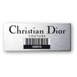 christian dior engraved on aluminium asset tag with barcode