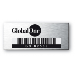 global one personnalised on aluminium asset tag with barcode en