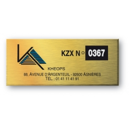 aluminium asset tag engraved kheops with golden color