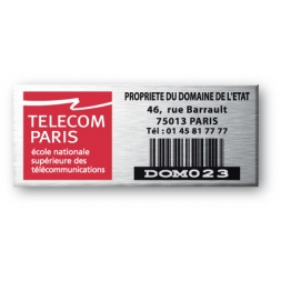 aluminium asset tag personnalised for telecom paris with barcode en