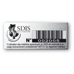 aluminium asset tag personnalised for sdis company
