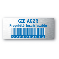 aluminium asset tag for ag2r with blue barecode