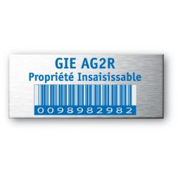 plaque aluminium realisee pour ag2r avec code barre bleu