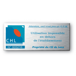 aluminium asset tag for chl company with blue logo en