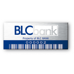 blc bank engraved on aluminium asset tag and blue barcode
