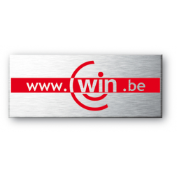 aluminium asset tag personnalised for win be on red border en