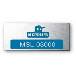 aluminium asset tag personnalised for dietsmann on blue color en
