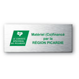 aluminium asset tag personnalised for conseil general picardie on green background