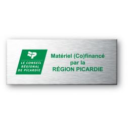 conseil general picardie sur fond vert gravee sur plaque aluminium souple