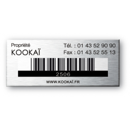 kookai property engraved on aluminium asset tag
