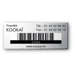 propriete kookai gravee sur plaque aluminium souple avec code barre