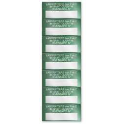 aluminium asset tag for laboratory in green background en