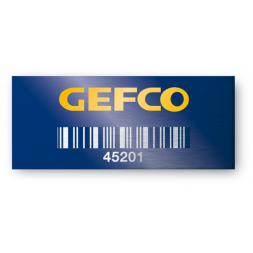aluminium asset tag personnalised for gefco on blue background with barcode