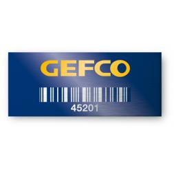 plaque aluminium sur fond bleu pour entreprise gefco avec code bare