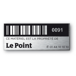 aluminium asset tag personnalised le point magazine barcode