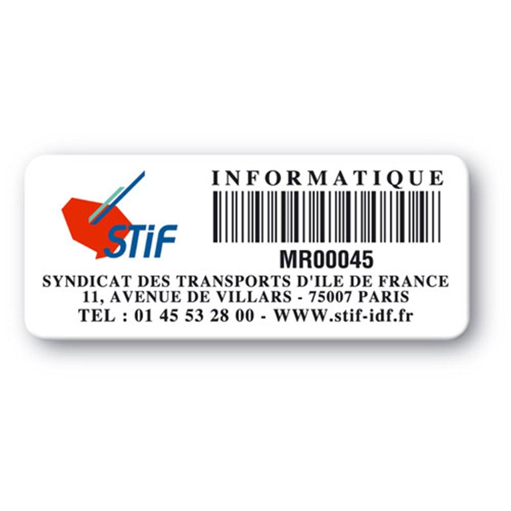 etiquette pvc ultra destructible logo stif codebarre