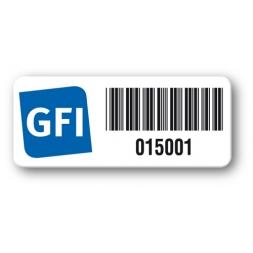 etiquette logo bleu gfi code barre reference
