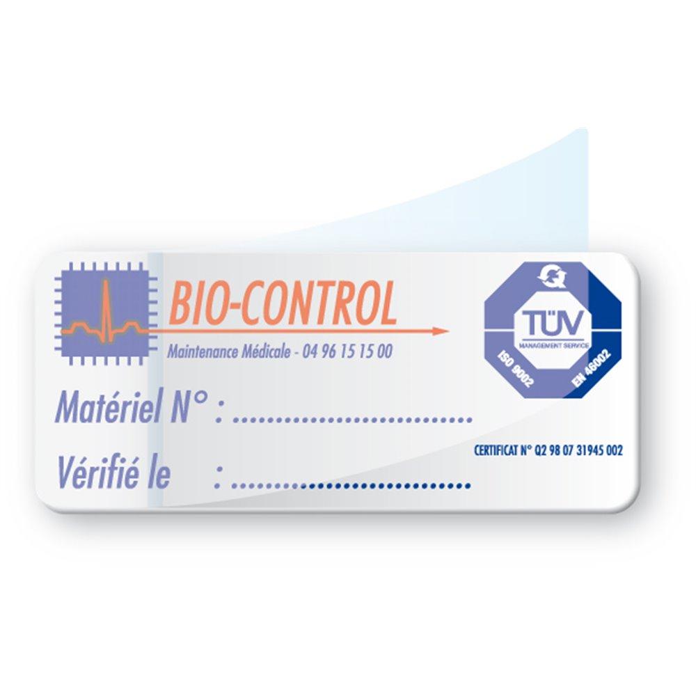 etiquette double adhesif pre imprimee bio control
